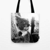 koala Tote Bags featuring Koala by Alan Hogan