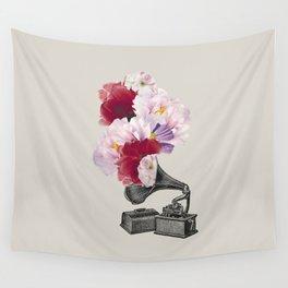 Flower gramophone Wall Tapestry