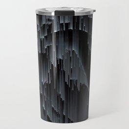 Modern Black Glitch Abstract Travel Mug
