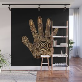 Spiral Hand Print - Gold and Black Wall Mural
