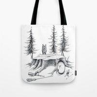 teen wolf Tote Bags featuring Teen Wolf by runningwithhellhounds