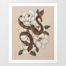 Snake and Magnolias Art Print