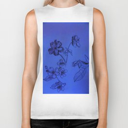 Blue Botanical Biker Tank