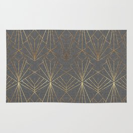 Art Deco in Gold & Grey Rug