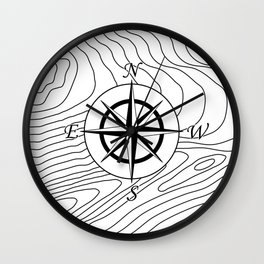 Topographic Line Pattern with Compass #797 Wall Clock