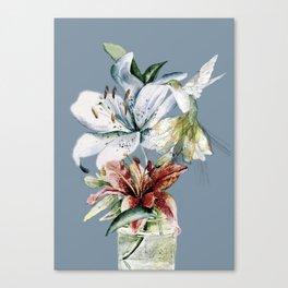 Hummingbird with Flowers Canvas Print
