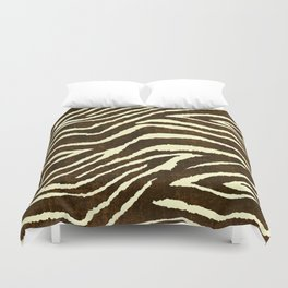 Animal Print Zebra in Winter Brown and Beige Duvet Cover