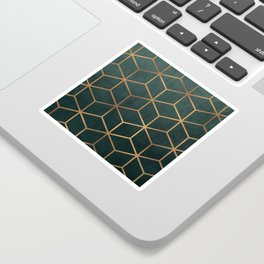 Dark Teal and Gold - Geometric Textured Gradient Cube Design Sticker
