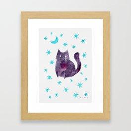 Purple Cat with Blue Stars Framed Art Print