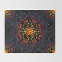 'Glowing Shamballa' Bohemian Mandala Black Blue Purple Orange Yellow Throw Blanket