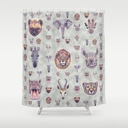 African Mammals Poster and Pattern Shower Curtain
