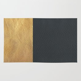 Color Blocked Gold & Leather Rug