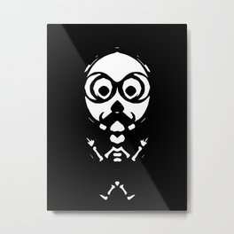 old skinny skull and bone with glasses in black and white Metal Print
