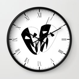 Black and White Stage Masks Wall Clock