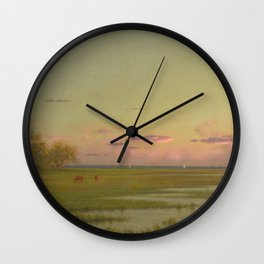 Martin Johnson Heade - Salt Marsh At Southport  Connecticut Wall Clock