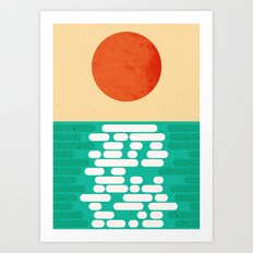 Sun over the sea Art Print