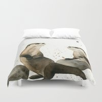 otters Duvet Covers featuring Otters by Priscilla George