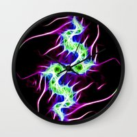 lightning Wall Clocks featuring Lightning by Brian Raggatt