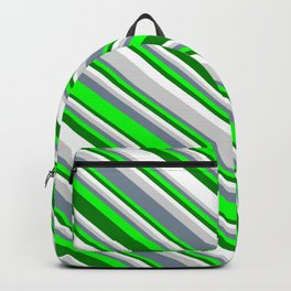 Eyecatching Light Gray, Light Slate Gray, Lime, Green, and White Colored Striped Pattern Backpack