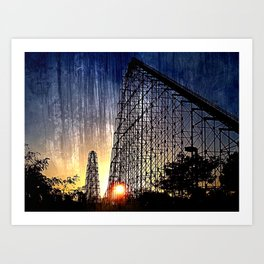 Mamba Roller Coaster at Sunset Grunge Art Print