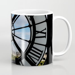 Paris cityscape through the giant glass clock at the Musee d'Orsay Coffee Mug