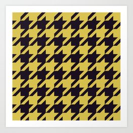 Houndstooth Black And Yellow Art Print