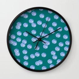 Blue Polka Dots Pattern on Dark Turquoise Wall Clock