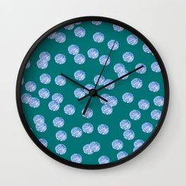 Blue Polka Dots Pattern on Dark Turquoise Wall Clock