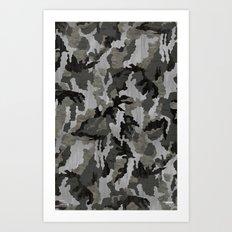 Modern Woodgrain Camouflage / Winter Birch Woodland Print Art Print