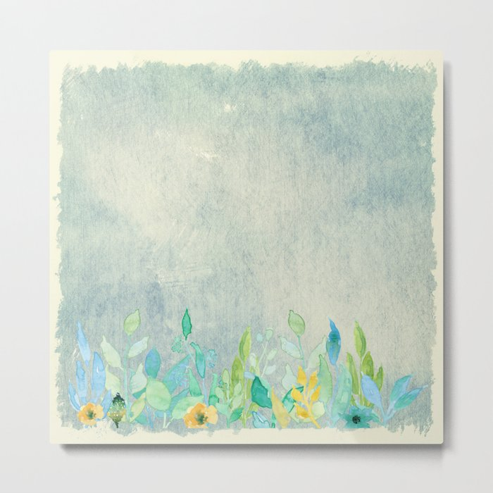 flowers in a meadow - Floral watercolor illustration Metal Print