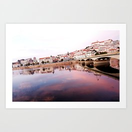 Pink sunset in Portugal Art Print
