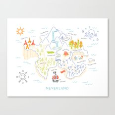 Neverland Map Color Canvas Print