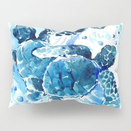 Three Sea Turtles, blue bathroom turtle artwork, Underwater Pillow Sham