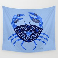 crab Wall Tapestries featuring Blue Crab by Cat Coquillette