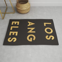 LOS ANGELES CALIFORNIA GOLD CITY TYPOGRAPHY Rug