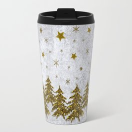 Sparkly Christmas tree, stars, moons on abstract paper Travel Mug