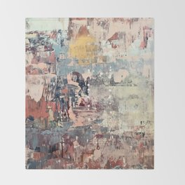 Mirage [1]: a vibrant abstract piece in pinks blues and gold by Alyssa Hamilton Art Throw Blanket