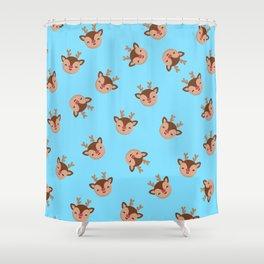 Blue Rudolf Reindeer Shower Curtain