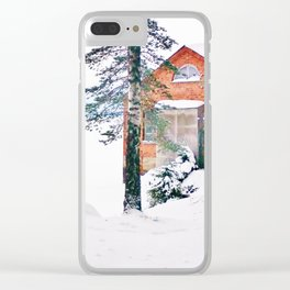 Icy lake view with red brick house Clear iPhone Case