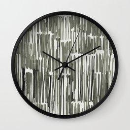 Simply Bamboo Brushstroke Green Tea on Lunar Gray Wall Clock