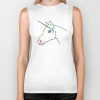 unicorn Biker Tanks featuring unicorn by gazonula