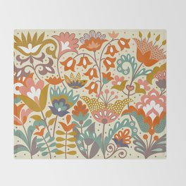 Forest flowers Throw Blanket