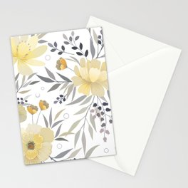 Modern, Floral Prints, Yellow, Gray and White Stationery Cards