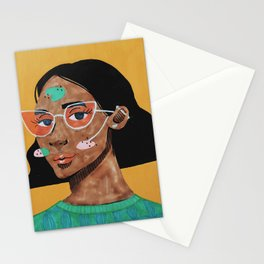 Current fashion girl Stationery Cards