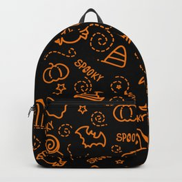 Halloween spooky signs pattern with swirl fireworks Backpack