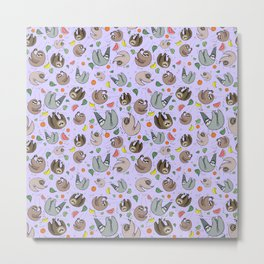 Pretty Sloth Pattern Metal Print