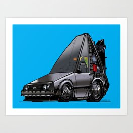 Back To The Future Part 1 - DeLorean Time Machine - Color Art Print