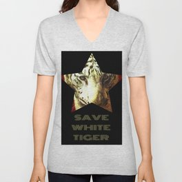 Save White Tiger, tiger print, white tiger wall decor, tiger gift idea Unisex V-Neck