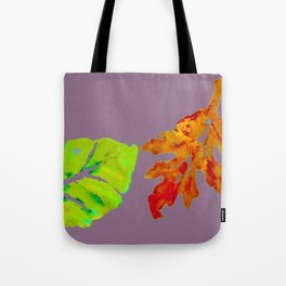 Autumn Leaves in orange, brown, yellow, green on light purple mauve Tote Bag
