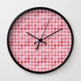 Red and White Lumberjack Plaid Wall Clock